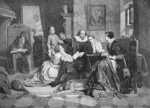 La famiglia di Shakespeare in un'illustrazione del 1890. William recita l'Amleto, la moglie Anne è seduta sulla destra,  Hamnet è in piedi, mentre, da sinistra,  la gemella Judith e Susannah lo ascoltano.