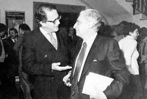 Renzo De Felice (a destra) con l'editore Vito Laterza
